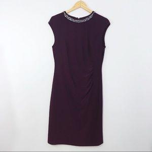 Lauren Ralph Lauren Jewel Collar Purple Dress 14